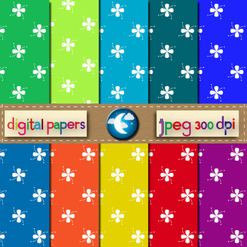 10 Free Floral Pattern Digital Paper in 10 Colors