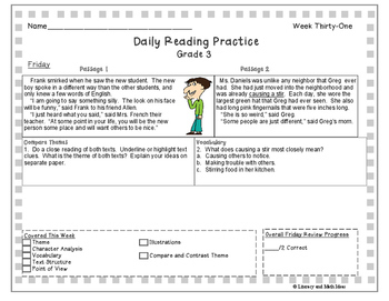 10 Free Passages: Daily Reading Comprehension Grade 3