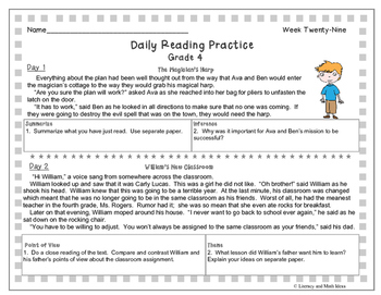 10 Free Passages: Daily Reading Comprehension (Grade 4) | TpT