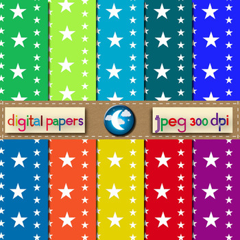 10 Free Star Pattern Digital Paper in 10 Colors