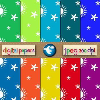 10 Free Sun and Flower Pattern Digital Paper in 10 Colors