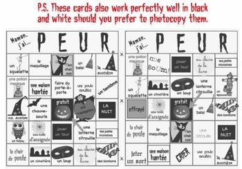 10 French bingo cards for Halloween