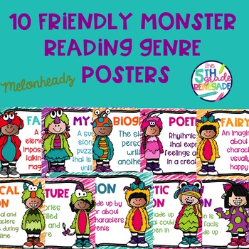 10 Friendly Monster Themed Reading Genre Posters