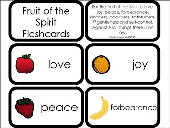10 Fruit of the Spirit Printable Flashcards. Preschool-Elementary Bible Study.