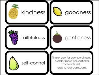 10 Fruit of the Spirit Printable Flashcards. Preschool-Elementary Bible Study.