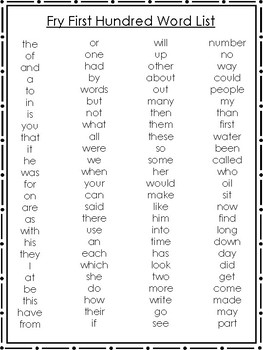 10 Fry Sight Words Quick Reference Charts. 1st Hundred-10th Hundred Word Lists.