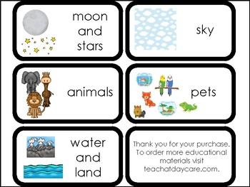 10 God's Creation Printable Flashcards. Preschool-Elementary Bible Study.