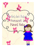Classroom Poster: Golden Rules of Homework and Parental Note