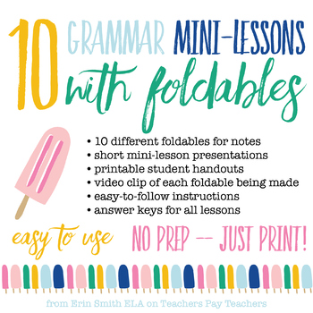 10 Grammar Mini-Lessons with Foldables