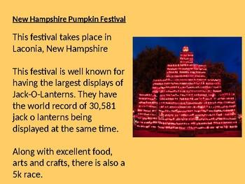 10 Great Pumpkin Festivals around the USA - Power Point information facts