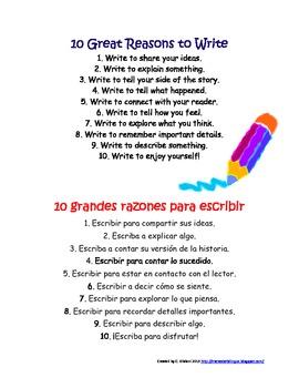 10 Great Reasons to Write (Bilingual)