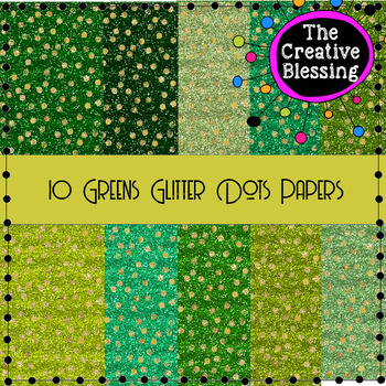 10 Greens Glitter Digital Papers