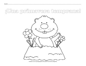 10 Groundhog Day Coloring Pages - SPANISH