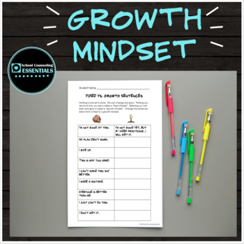 10 Growth Mindset Classroom Worksheets for grades 3-6