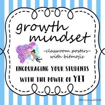 10 Growth Mindset Bulletin Board Posters with bitmojis! {customizable}