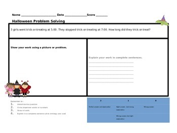 10 Halloween Common Core Problem Solving Practice pages for Second Grade