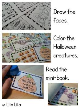 10 Halloween creatures mini-book