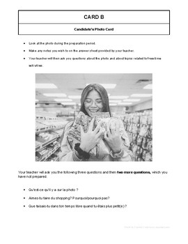 10 High Quality French GCSE Photocards for AQA : Free time activities