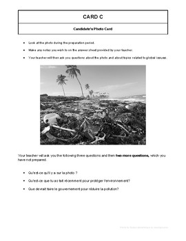 10 High Quality French GCSE Photocards for AQA : Global Issues