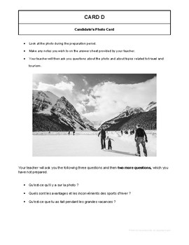 10 High Quality French GCSE Photocards for AQA : Travel and Tourism