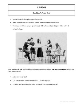 10 High Quality Spanish GCSE Photocards for AQA : Life at school, college
