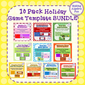 """10 Holiday BUNDLE """"Find the..""""  Game pack Editable for Any Lesson & Subject"""