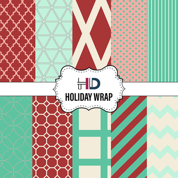 10 Holiday Wrap Digital Background Papers in red, green, and ivory