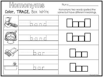 10 Homonyms Color and Writing Worksheets. Kindergarten-1st