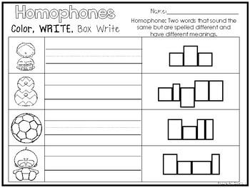 14 Homophones Color and Writing Worksheets. Kindergarten-1st Grade ELA.