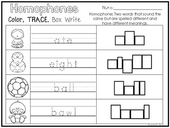 14 Homophones Color and Writing Worksheets. Kindergarten-1st Grade ELA.