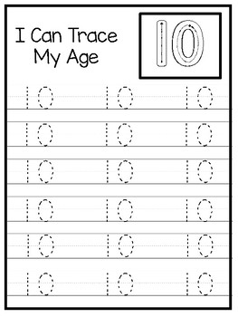 10 How Old I Am Age 10 Number Tracing And Learning Preschool Worksheets And Acti