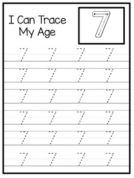10 How Old I Am Age 7 Number Tracing and Learning Preschool Worksheets and  Acti