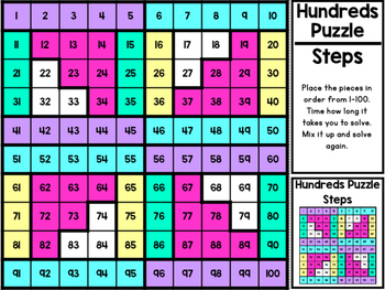 10 Easy Cut and Assemble Hundreds Puzzles