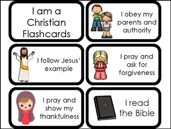 10 I Am A Christian Printable Flashcards. Preschool-Elementary Bible Study.