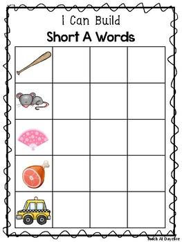 10 I Can Build CVC Words Work Mats. Preschool-KDG Phonics.