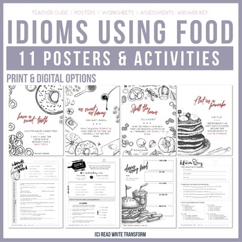 10 Idioms Using Food Posters Worksheets Quiz Digital And Print