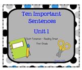 10 Important Sentences - Unit 1 - Grade 1 - Reading Street