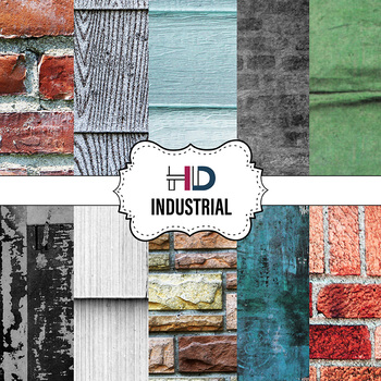 10 Industrial Textured Digital Background Papers Brick Siding Wall Concrete