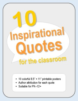 10 Inspirational Quotes Classroom Posters