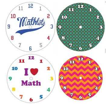 10 Interchangeable Math Themed Clock Faces