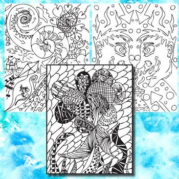 Doodle Coloring Pages, Zen Doodles