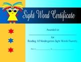 10 Kindergarten Sight Word Certificate