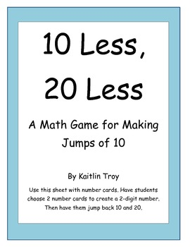 10 Less, 20 Less: A Jumping 10 Game for Subtraction