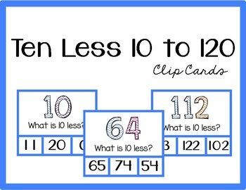 10 Less Clip Cards (Numbers 10 to 120)