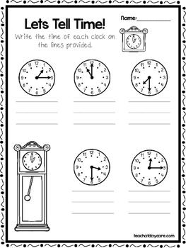 10 Let's Tell Time Worksheets. Write the Correct Time. Preschool-1st Grade Math.