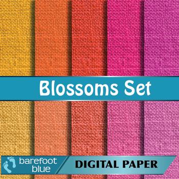 10 Linen Background Texture Digital Paper, Blossoms