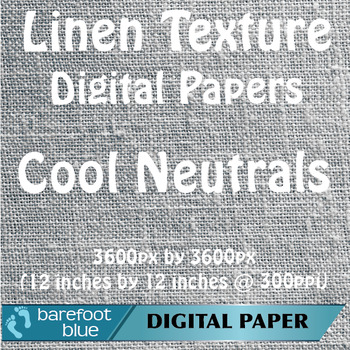 10 Linen Background Texture Digital Paper, Cool Neutrals
