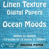 10 Linen Background Texture Digital Paper, Ocean Moods