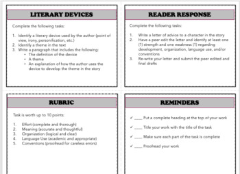 10 Literature Task Cards with Rubric