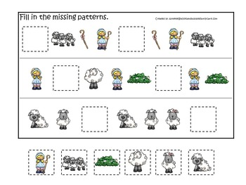 10 Little Bo Peep themed preschool games and worksheets bundle.